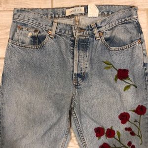 Vintage High Rise Beaded & Embroidered Mom Jeans